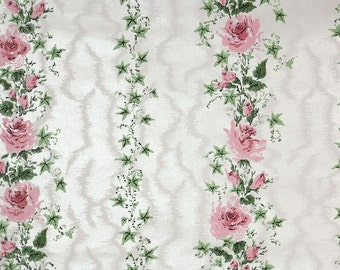 1940s Vintage Wallpaper by the Yard - Pink Roses Green Ivy on White Moire