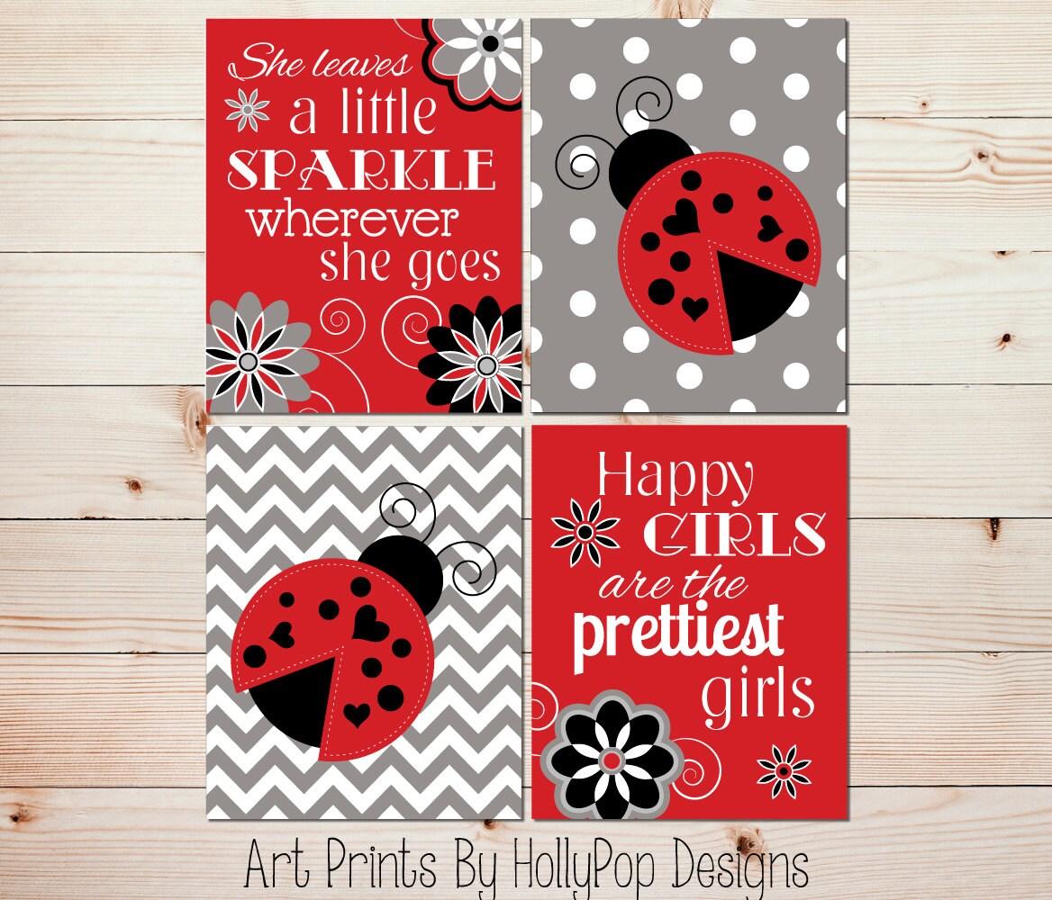 Ladybug Girls Room Decor Red White Black Nursery Art Baby Girl