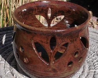Candle Luminary with tulip design in brown - Handmade Pottery