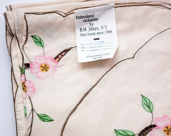 Vintage Embroidered and Cutwork Tablecloth, B.M. Jabara, Never Used, Ecru with Pink Flowers