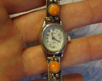 "Vintage Native American Southwestern Ladies Wrist Watch, Sterling w/ Orange Coral Stones, 6 1/2"" - 7 1/4"",  Toggle Clasp, R J Apacheto"