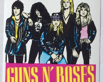 "GUNS N' ROSES Rare Collectible 80's Vintage Sticker 4"" x 4"""