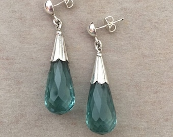 Blue Green Crystal and Fine silver briolette Earrings