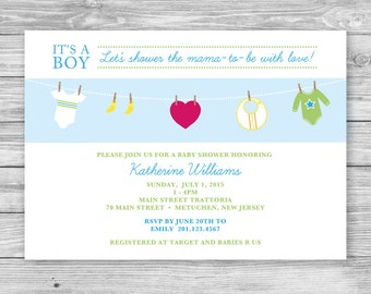 Clothes Line Baby Shower Invitation - Baby Shower Invitation - Printable Digital File