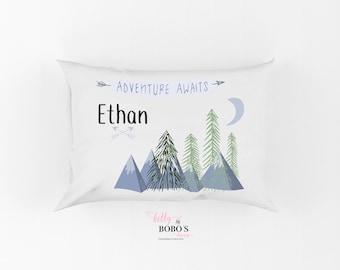 Adventure Awaits Pillow, Personalized Boy Pillow Case, Mountains Pillow, Toddler Mountains Pillow, Adventure Pillow, Nap time Pillow