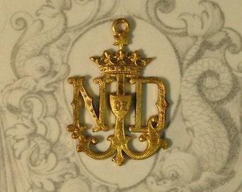 Vintage French Notre Dame de Lourdes Medal Pendant Our Lady Raw Brass Flat Back Monogram Pendant 1 Piece 73J  305J