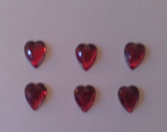 Set of 6 hearts Red