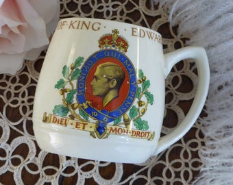 Vintage Coronation Cup King Edward VIII 1937, King Edward VIII Burleigh Coronation Mug 1937, England Coronation Cup Edward 1937 (ØP)