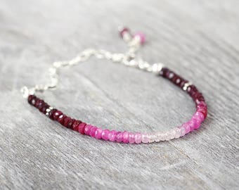 Silver Ruby Bracelet - Beaded Ruby Bracelet - Real Ruby Bracelet - July Birthstone Gift - Genuine Ruby Jewellery - Fine Jewelry Bracelet