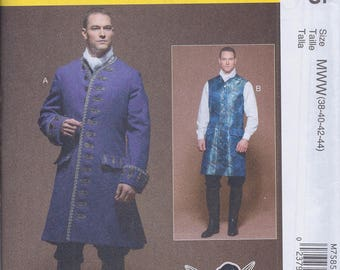 McCall's 7585 Mens 18th Century Outlander Cos Play Coat Vest UNCUT Sewing Pattern