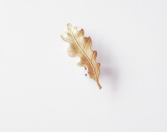 Oak Leaf Barrette Gold Bridal Hair Clip Bride Bridesmaid Nature Rustic Woodland Wedding Accessories Vintage Style Womens Gift For Her Spring