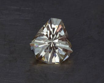 Natural, Untreated Oregon Sunstone with Schiller, Precision Cut into a Designer, Handmade, Faceted Modern Shield Cut