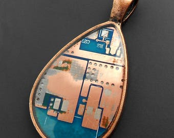 Tear Drop Pendant with Blue Circuit Board