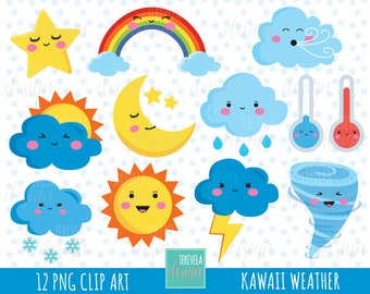50% SALE WEATHER clipart, weather icons, commercial use, kawaii wather graphics, cute, cloud, sun, storm, rainbow, moon, snow, star, cute
