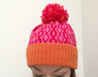 red pink orange Bobble hat, bright hat, Lambswool Knitted Bobble hat, knitted Lambswool hat