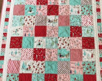 Quilts, Christmas quilts, holiday quilts, girl quilt, Pixie Noel fabric, baby first Christmas gift, hand quilted, patchwork quilt, pixies,