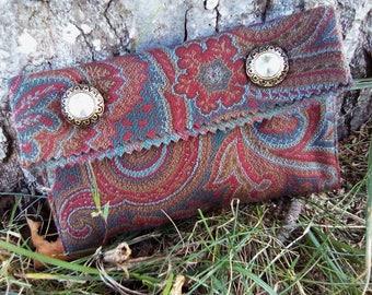 Vintage Burgundy clutch patterned