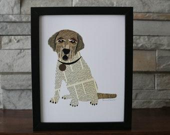 Lab or Beagle Dog Puppy Print