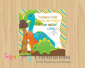 Instant Download: DIY Printable Favor Tags- Dinosaur Favor Tags -Dino Party -Square Thank You Tags -School Treats -Dinosaurs -Birthday