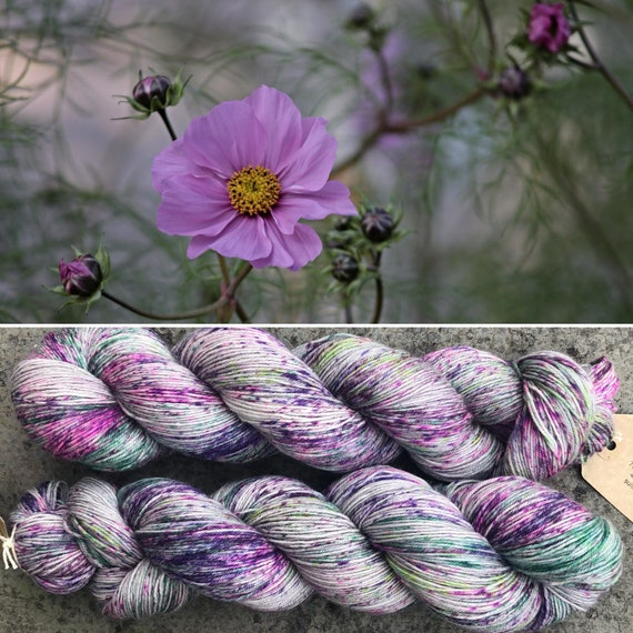 Meadow Bouquet BFL, speckled indie dyed bluefaced leicester nylon sock yarn