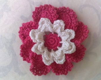 3-D baby dark pink crochet flower applications crochet flower