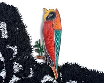 owl brooch, vintage owl brooch, vintage brooch, owl pin, owl jewelry, owl, costume jewelry, bird brooch, enamel brooch, animal brooch,