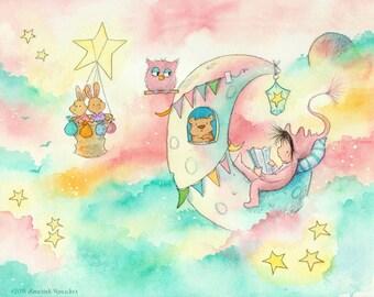 Étoiles du soir - pépinière de lecture - reproduction d'Art - enfant Bébé fille