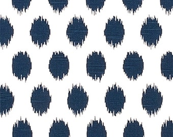 Ikat Dots Navy Blue Designer Home Decor Fabric, Cotton Drapery / Upholstery  Fabric, Contemporary