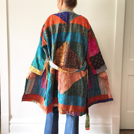 Vintage Indian Silk Patchwork Duster , Layering Jacket , BOHO Kimono ,Silk Kimono