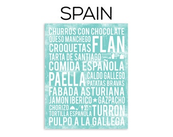 Spain Food Poster - Spanish Food Poster - Spain Poster - Various Sizes & Colors