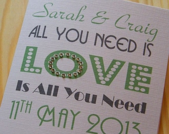 Wedding Day Handmade Personalised Card - All you need is love
