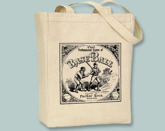Vintage Baseball Board Game  Canvas Tote -- Selection of sizes available, Image in ANY COLOR