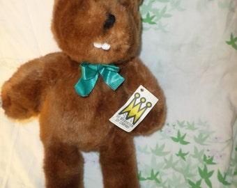 """Vintage Manhattan Toy Beaver plush 1994 NWT Green bow 14"""""""