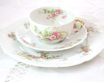 Vintage French Limoges Tresseman & Vogt Elite Works Tea Cup, Saucer Trio Cottage Style Tea Gathering Ca. 1900 - 1914