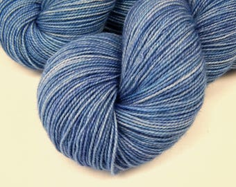 Hand Dyed Sock Yarn, Sock Weight Superwash Merino Wool Yarn - Delphinium - Fingering Knitting Yarn, Tonal Periwinkle Blue, SMALLER SKEIN