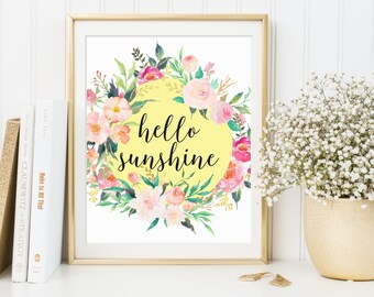 Hello Sunshine Wall Art, Hello Sunshine Printable, Hello Sunshine Print, Hello Sunshine Artwork, Hello Sunshine Decor, Nursery Wall Art