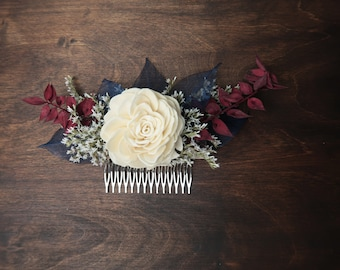 Burgundy and blue rustic HAIR COMB Sola Flower dried flowers hairpiece bridal accessory steel blue maroon