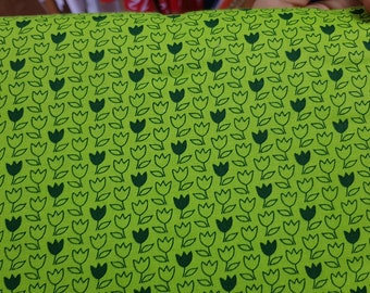 Lime Green with Dark Green Flowers