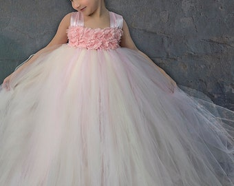 Flower girl dress - Tulle flower girl dress - Blush Dress - Tulle dress-Infant/Toddler - Pageant dress - Princess dress -Blush flower dress