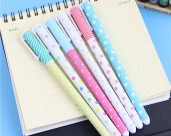 Pastel Dots and Stripes Gel Pen .38m Color or Black P5413P