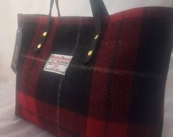Red black Harris tweed tote bag purse handbag tartan purse gift for her womans gift girlfriend gift Scottish