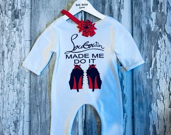 Red Sole Baby Romper and Bow - Diamanties, bling bows - Like Mummy's Louboutins but Designer Inspired! Louboutin Made Me Do It!