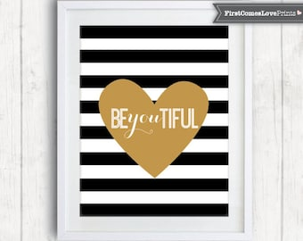 Teen Bedroom Art • Be You Tiful • Black and White Stripes • Custom Colors Print or Canvas Inspirational Decor Graduation Gift Quote Art Teen