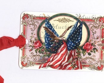 Tags , American Flag  Gift Tags -  Fourth of July Tags  - Vintage Flag - Flag and Roses , Patriotic Tags , Memorial Day , Flag Hang Tags