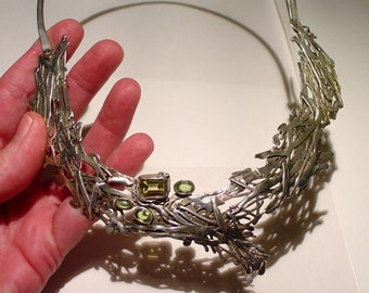 BRUTALIST Modernist Sterling Silver Citrine and Peridot Collar Breastplate Necklace, Signed