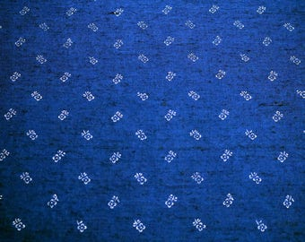 Dark indigo blue, hand printed linen fabric, K86, K91