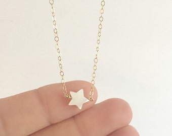 Pearl Star Necklace | White Star Necklace | Dainty Necklace | 14k Gold Filled | Sterling Silver | Layering Necklace | Christmas Gift