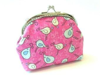 Pink snap coin purse, bird frame makeup bag, pink kiss lock bag, metal frame purse, frame coin pouch