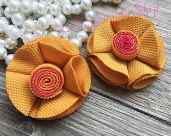 Set Of 2 Petite Mustard Yellow Chiffon flowers - Chiffon Flowers - Layered small fabric flower Wholesale Fabric Flowers - Mustard Flowers