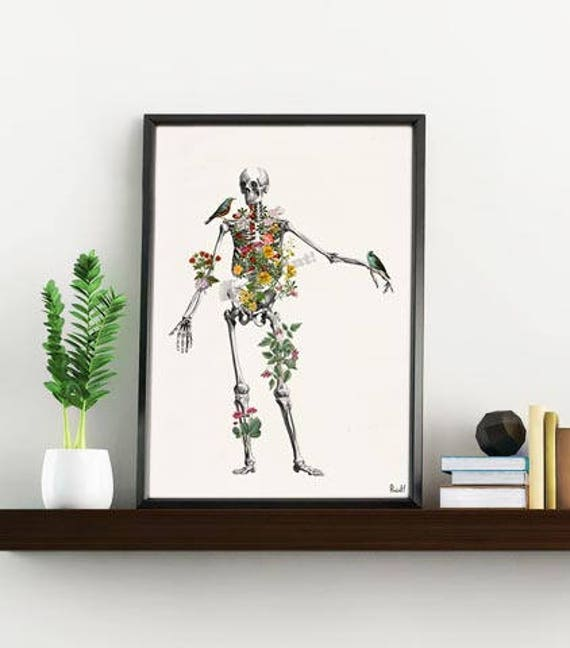 Human Skeleton full of naure. Anatomy art, Anatomical art, Wall art, Wall decor, Anatomy, Medical gift, Wholesale, Gift for doctor SKA142WA4
